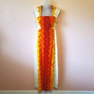 Ui-Maikai Vintage 60's Orange Hawaiian Maxi Dress